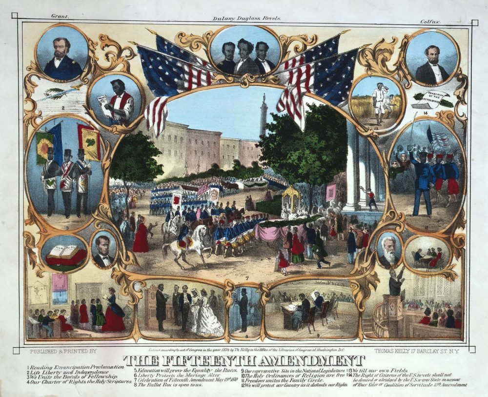 "Thomas Kelley, ""The Fifteenth Amendment,"" 1870, via Wikimedia."