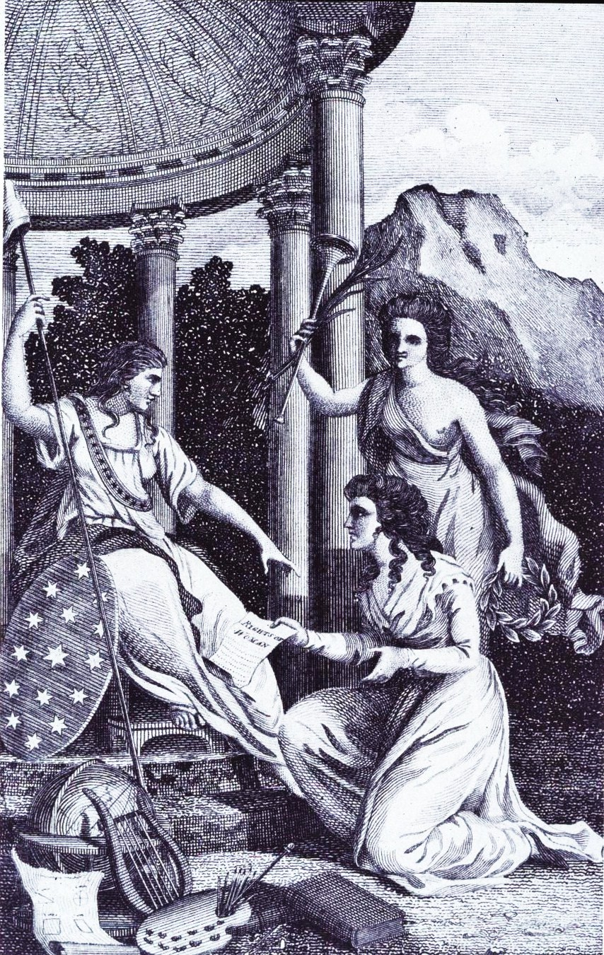 "Thackara & Vallance, Frontispiece and title page from ""The Lady's magazine, and repository of entertaining knowledge"" showing the ""Genius of the Ladies magazine"" presenting the figure of Liberty with a copy of Mary Wollstoncraft's ""Vindication of the rights of women,"" 1792 via Library of Congress."