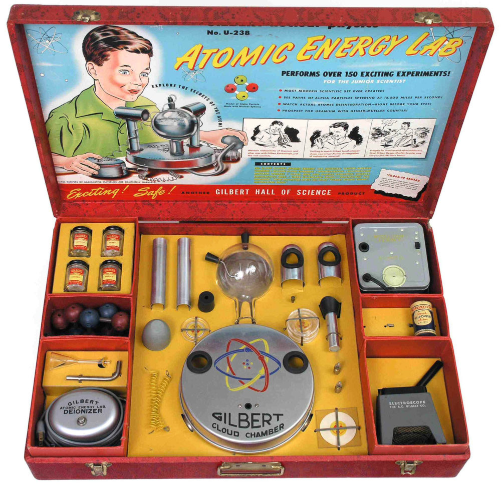 """This toy laboratory set was intended to let young people perform small scale experiments with radioactive materials in their own home. Equipped with a small working Geiger Counter, a """"cloud chamber,"""" and samples of radioactive ore, the set's creator claimed that the government supported its production to help Americans become more comfortable with nuclear energy."""
