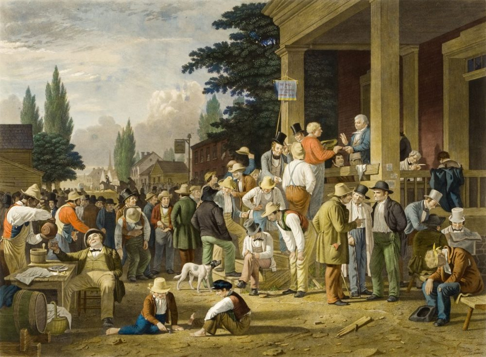 "George Caleb Bingham, ""The County Election,"" 1854, via Reynolda House Museum of American Art."