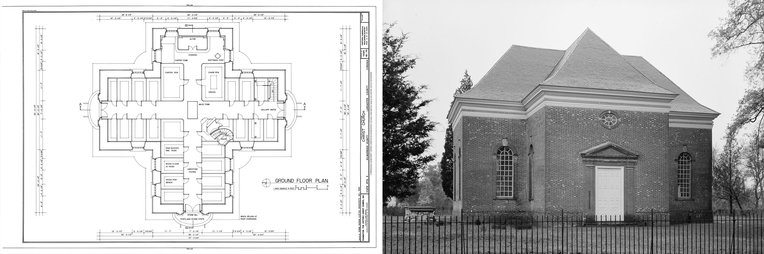 Blueprint and photograph of christ church the american yawp reader christ church virginia via library of congress malvernweather Choice Image