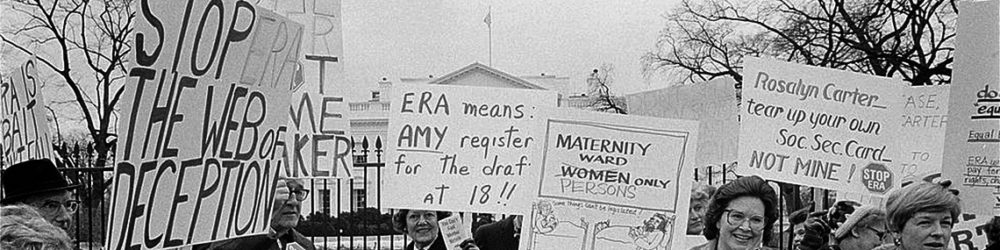 Warren K. Leffler, Demonstrators opposed to the ERA in front of the White House, 1977, via Library of Congress.