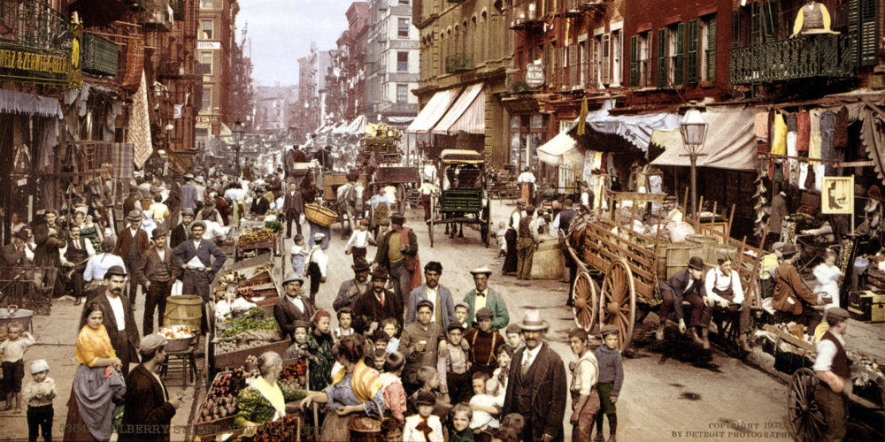 Mulberry Street, a crowded immigrant neighborhood in New York City, in 1900.