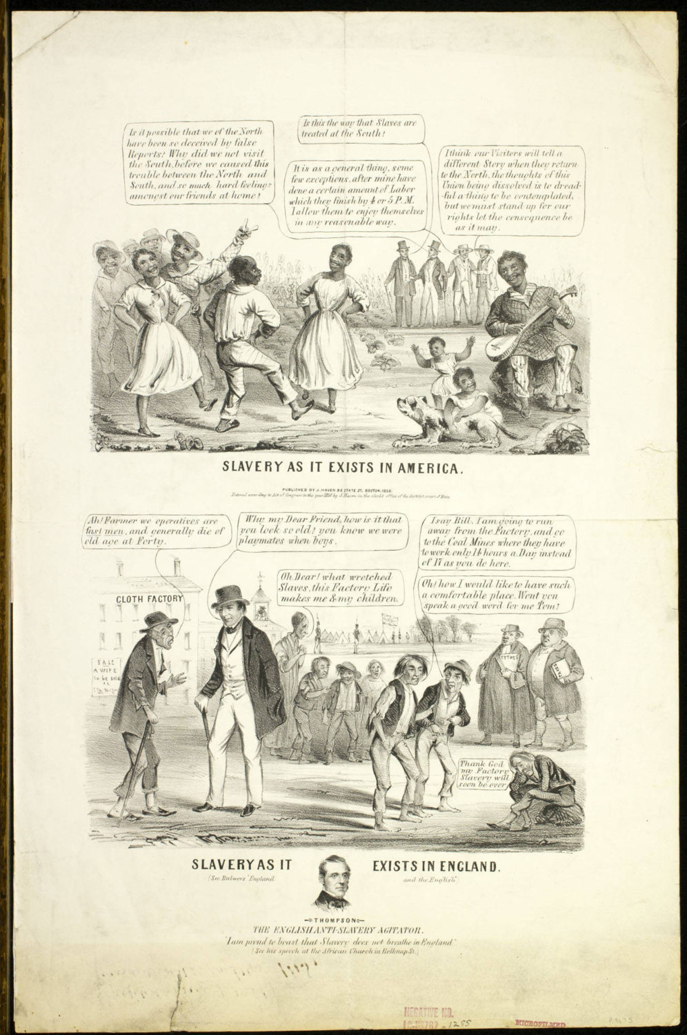 """Slavery as it exists in America. Slavery as it exists in England,"" 1850, via Library Company of Philadelphia."