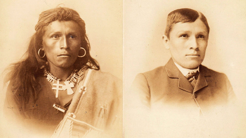 Tom Torlino, a member of the Navajo Nation, entered the Carlisle Indian School, a Native American boarding school founded by the United States government in 1879, on October 21, 1882 and departed on August 28, 1886. Torlino's student file contained photographs from 1882 and 1885. Source: Carlisle Indian School Digital Resource Center.