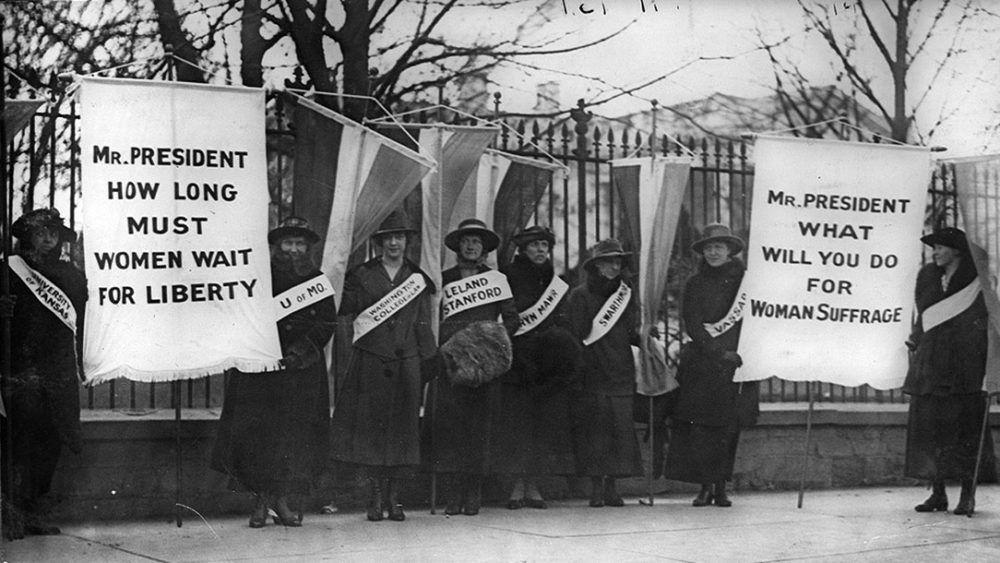 Women protested silently in front of the White House for over two years before the passage of the Nineteenth Amendment. Here, women represent their colleges as they picket the White House in support of women's suffrage. 1917. Via Library of Congress (LC-USZ62-31799).