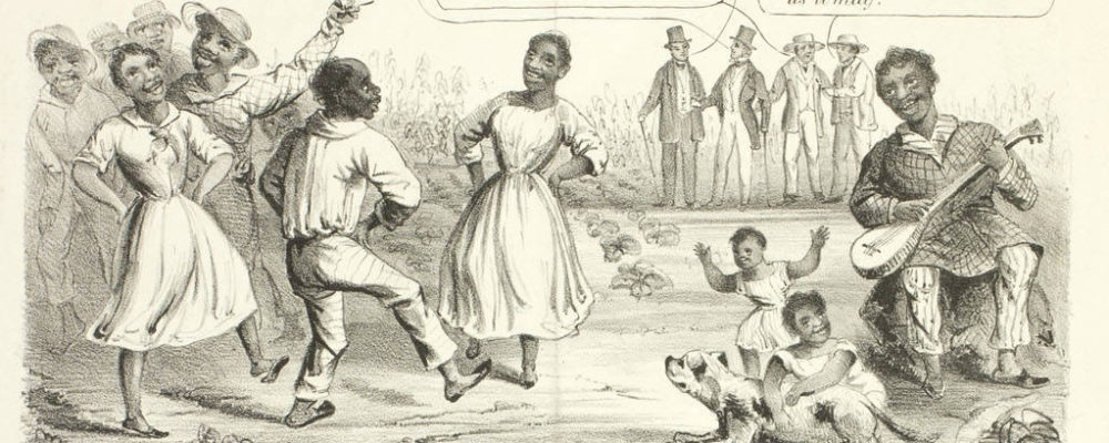 """This proslavery cartoon  ignorantly portrays enslaved people who, according to white observers, were cheerful and pleased with their bondage. These enslaved people are juxtaposed with beaten down British factory workers. Proslavery advocates attempted to claim that English factory workers suffered a worse """"slavery"""" than enslaved Africans and African Americans in the American South."""