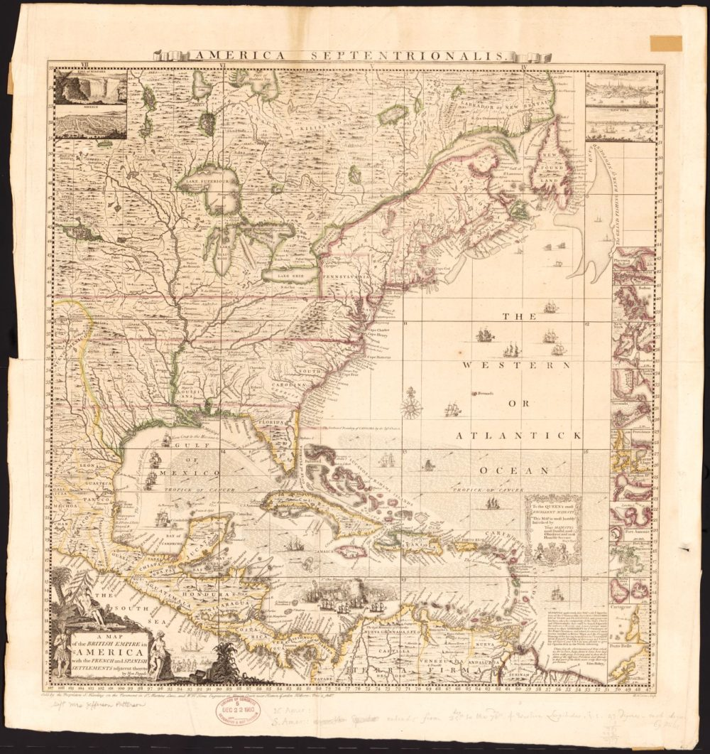 "Henry Popple, ""A map of the British Empire in America with the French and Spanish settlements adjacent thereto,"" 1733 via Library of Congress."