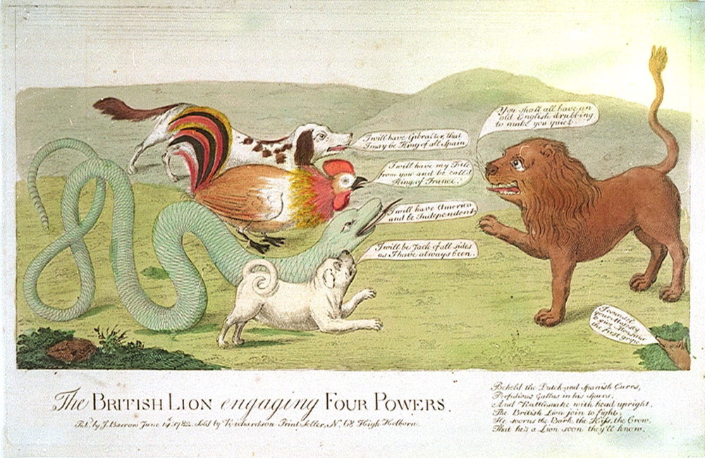 "J. Barrow, ""The British Lion engaging Four Powers,"" 1782, via National Maritime Museum, Greenwich, London."