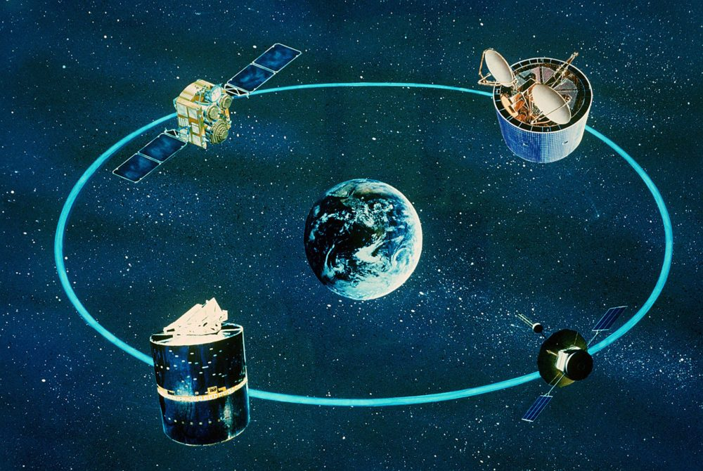 An artist's concept of various communications satellites in orbit; 11/23/1981. Via National Archives (ID: 6364532).