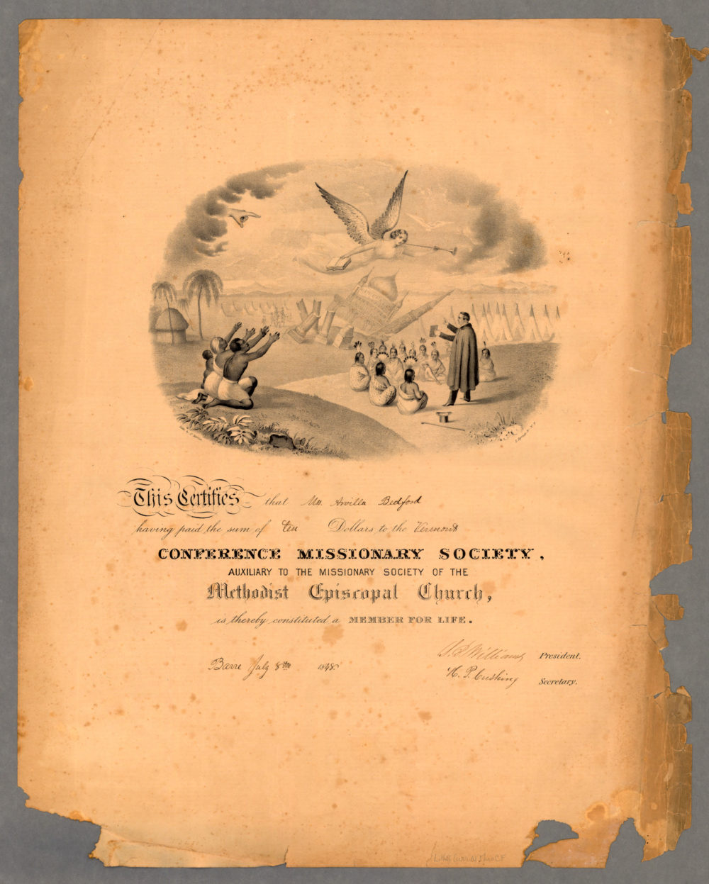 N. Currier, Membership Certificate to [Vermont] Conference Missionary Society, 1848, via American Antiquarian Society.