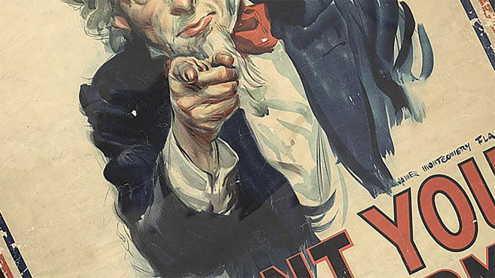 "James Montgomery Flagg, ""I Want You."" Ca. 1917, Via Library of Congress (LC-USZC2-564). ""War poster with the famous phrase ""I want you for U. S. Army"" shows Uncle Sam pointing his finger at the viewer in order to recruit soldiers for the American Army during World War I. The printed phrase ""Nearest recruiting station"" has a blank space below to add the address for enlisting."" - Library of Congress."