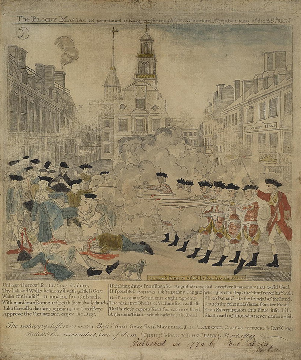 "This iconic image of the Boston Massacre by Paul Revere sparked fury in both Americans and the British by portraying the redcoats as brutal slaughterers and the onlookers as helpless victims. The events of March 5, 1770 did not actually play out as Revere pictured them, yet his intention was not simply to recount the affair. Revere created an effective propaganda piece that lent credence to those demanding that the British authoritarian rule be stopped. Paul Revere (engraver), ""The bloody massacre perpetrated in King Street Boston on March 5th 1770 by a party of the 29th Regt.,"" 1770. Library of Congress, http://www.loc.gov/pictures/item/2008661777/."