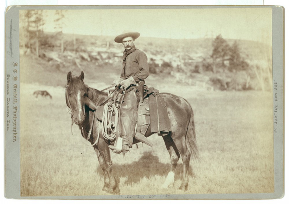 "Cowboys like the one pictured here worked the drives that supplied Chicago and other mid-western cities with the necessary cattle to supply and help grow the meat-packing industry. Their work was obsolete by the turn of the century, yet their image lived on through vaudeville shows and films that romanticized life in the West. John C.H. Grabill, ""The Cow Boy,"" c. 1888. Library of Congress, http://www.loc.gov/pictures/item/99613920/."