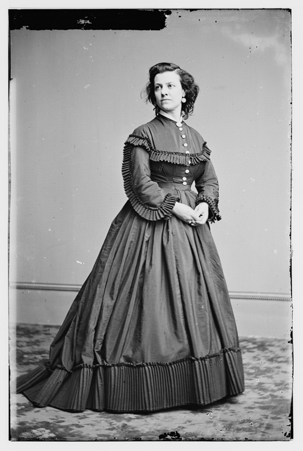 "Pauline Cushman was an American actress, a perfect occupation for a wartime spy. Using her guile to fraternize with Confederate officers, Cushman she snuck military plans and drawings to Union officials in her shoes. She was caught, tried, and sentenced to death, but was apparently saved days before her execution by the occupation of her native New Orleans by Union forces. Women like Cushman, whether spies, nurses, or textile workers, were essential to the Union war effort. ""Pauline Cushman,"" between 1855 and 1865. Library of Congress, http://www.loc.gov/pictures/item/brh2003003292/PP/."