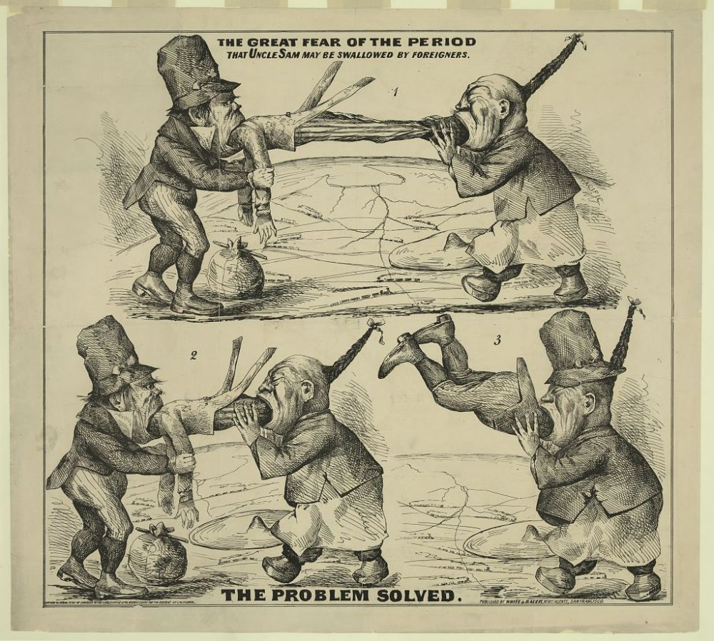 """This cartoon depicts a highly racialized image of a Chinese immigrant and Irish immigrant """"swallowing"""" the United States–in the form of Uncle Sam. Networks of railroads and the promise of American expansion can be seen in the background.""""The great fear of the period That Uncle Sam may be swallowed by foreigners : The problem solved,"""" 1860-1869.Library of Congress."""