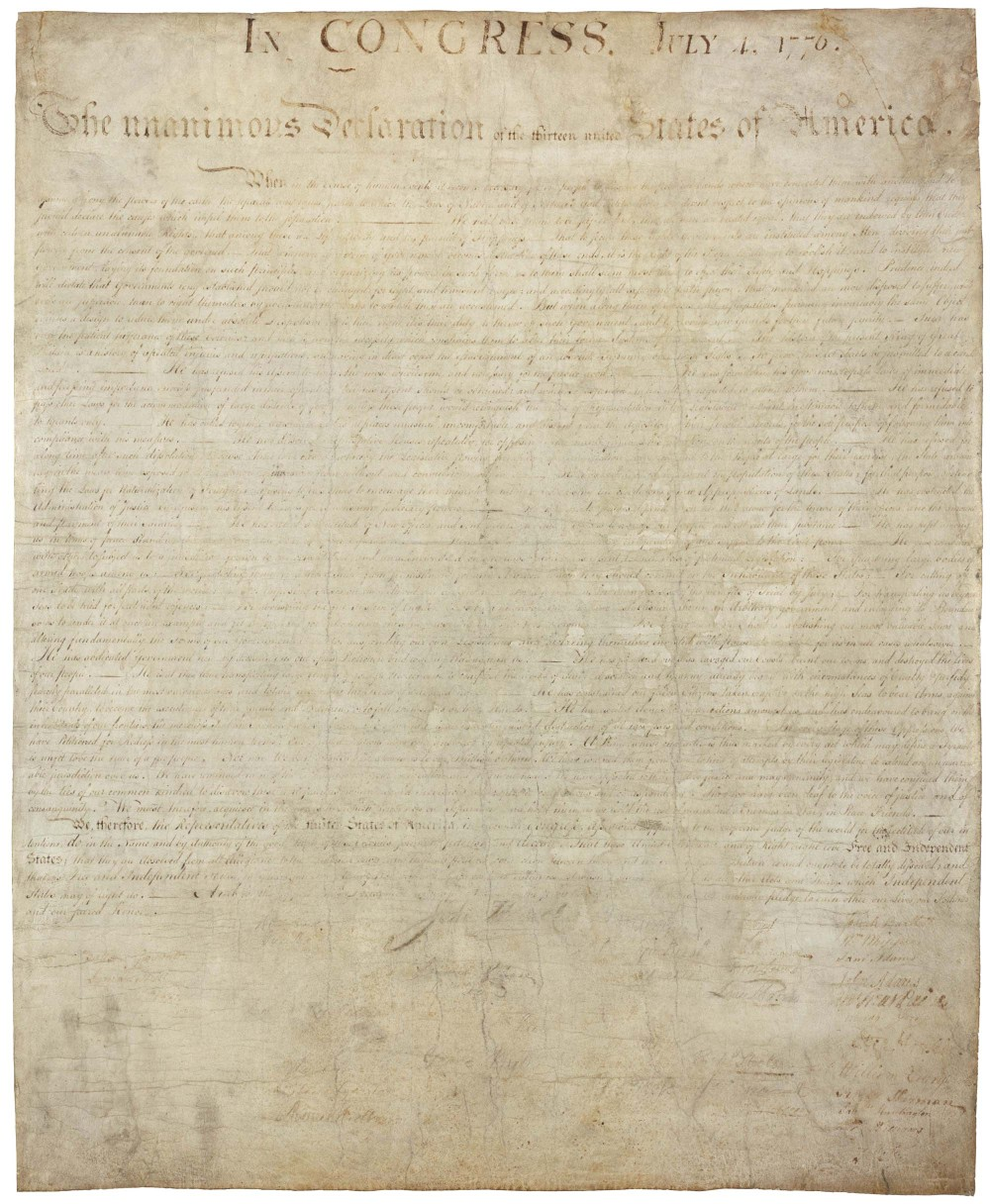 The Declaration of Independence, National Archives and Records Administration.