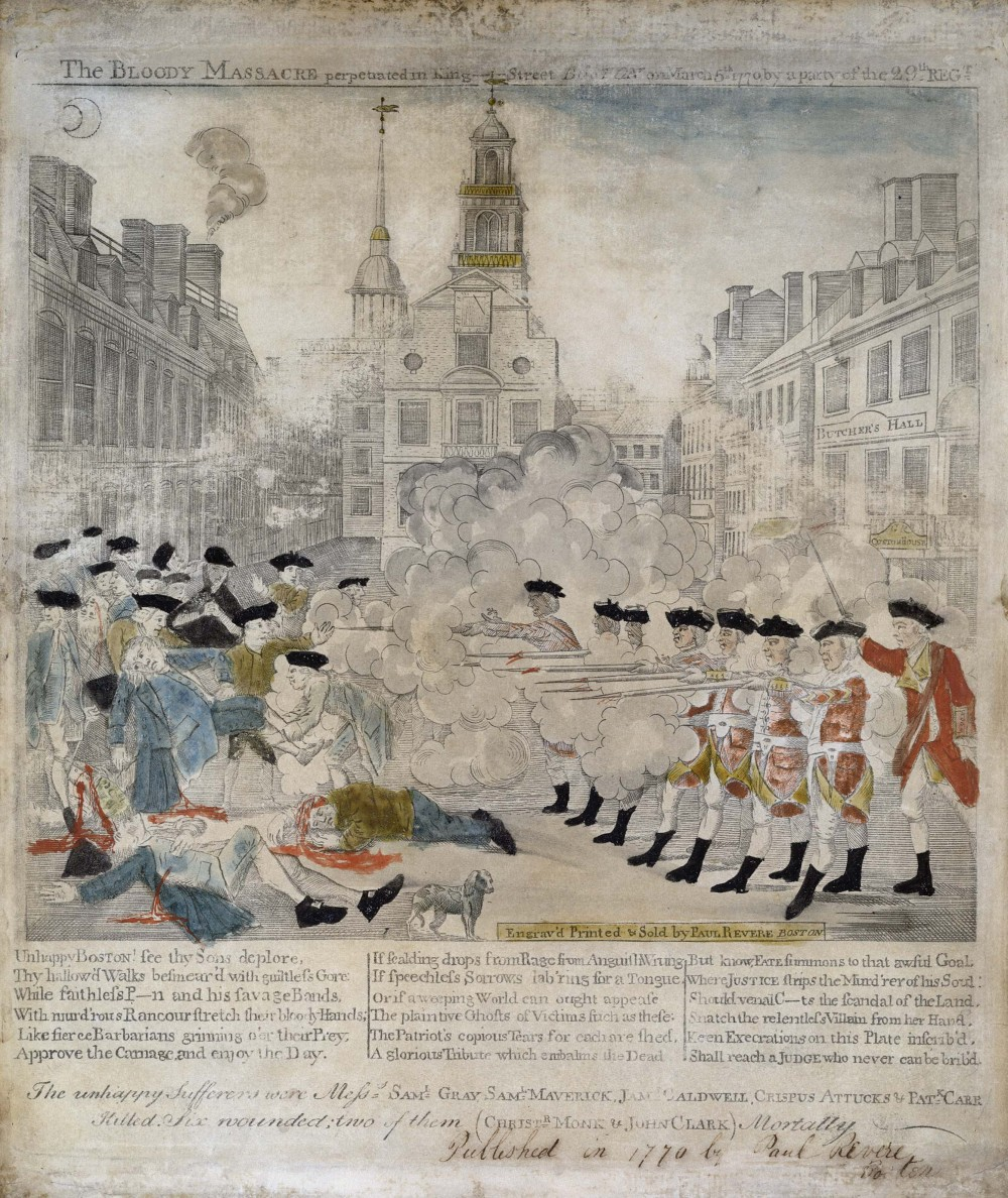 "This iconic image of the Boston Massacre by Paul Revere sparked fury in both Americans and the British by portraying the redcoats as brutal slaughterers and the onlookers as helpless victims. The events of March 5, 1770 did not actually play out as Revere pictured them, yet his intention was not simply to recount the affair. Revere created an effective propaganda piece that lent credence to those demanding that the British authoritarian rule be stopped. Paul Revere (engraver), ""The bloody massacre perpetrated in King Street Boston on March 5th 1770 by a party of the 29th Regt.,"" 1770. Library of Congress."