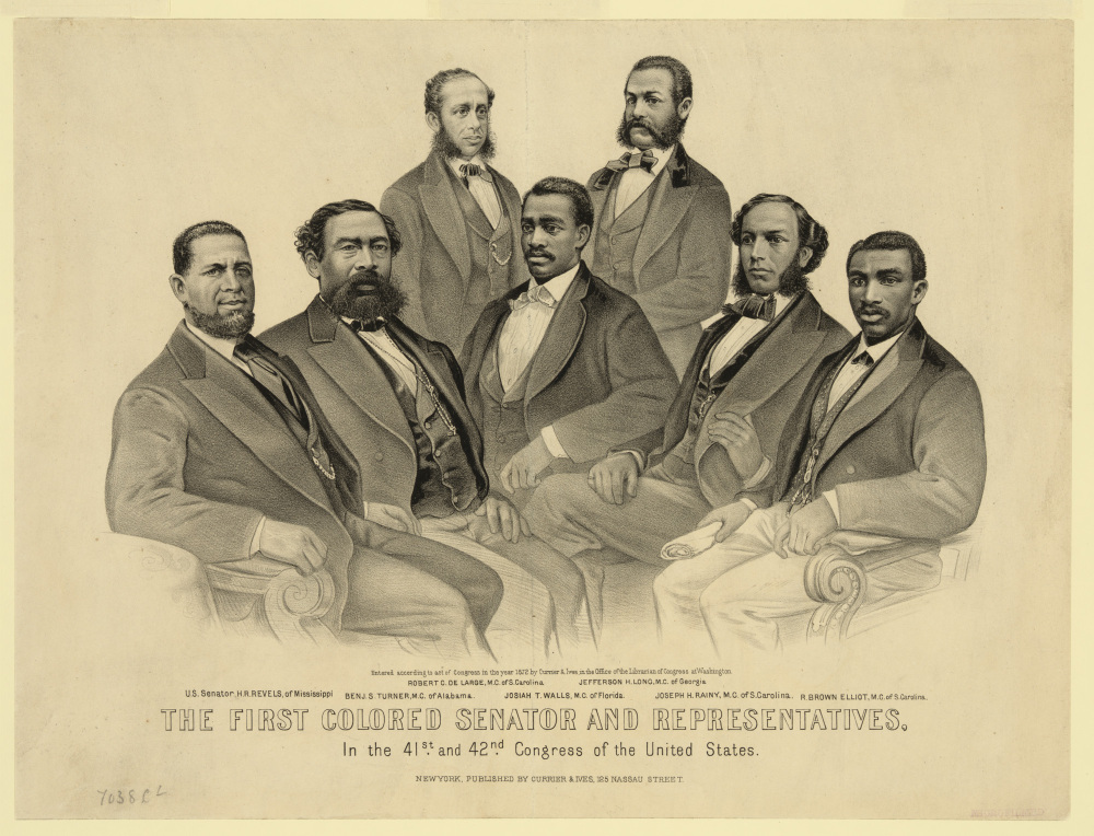 "The era of Reconstruction witnessed a few moments of true progress. One of those was the election of African Americans to local, state, and national offices, including both houses of Congress. Pictured here are Hiram Revels (the first African American Senator) alongside six black representatives, all from the former Confederate states. Currier & Ives, ""First Colored Senator and Representatives in the 41st and 42nd Congress of the United States,"" 1872. Library of Congress, LC-DIG-ppmsca-17564."