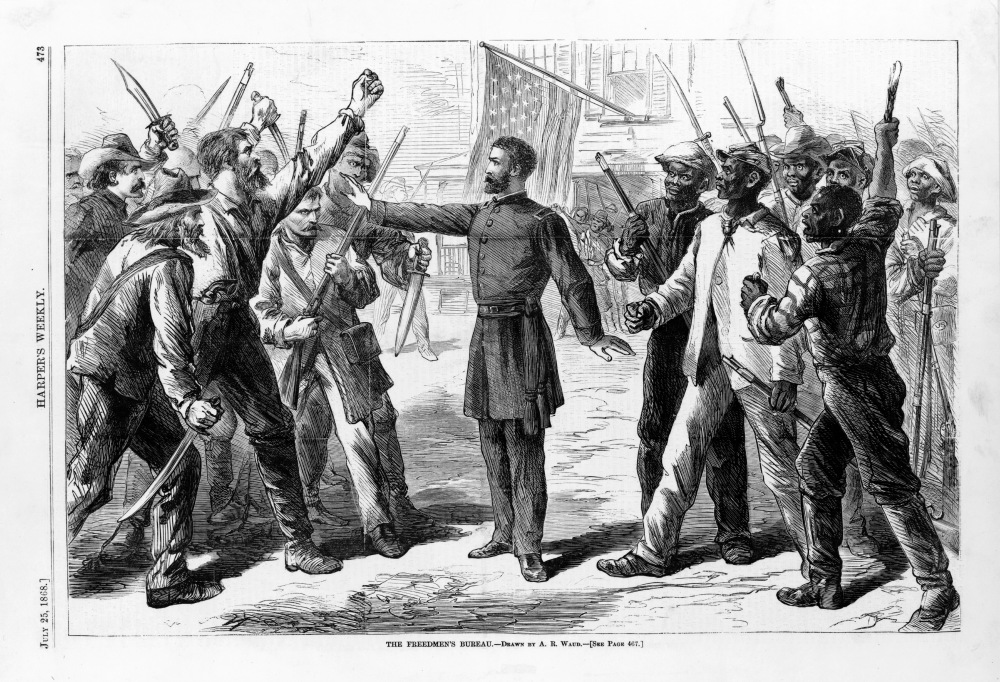 "The national government, initiated by President Lincoln, created the Freedmen's Bureau to assist freed people in securing their rights and their livelihoods. In this Harper's Weekly print, The Freedmen's Bureau official protecting the black men and women from the angry and riotous mob of white Americans stood as a representation of the entire Bureau. Soon the Bureau and the federal government would recognize that they could not accomplish a fraction of what they set out to do, including keeping African Americans safe and free in the South. Alfred R. Waud, ""The Freedmen's Bureau,"" 1868. Library of Congress."
