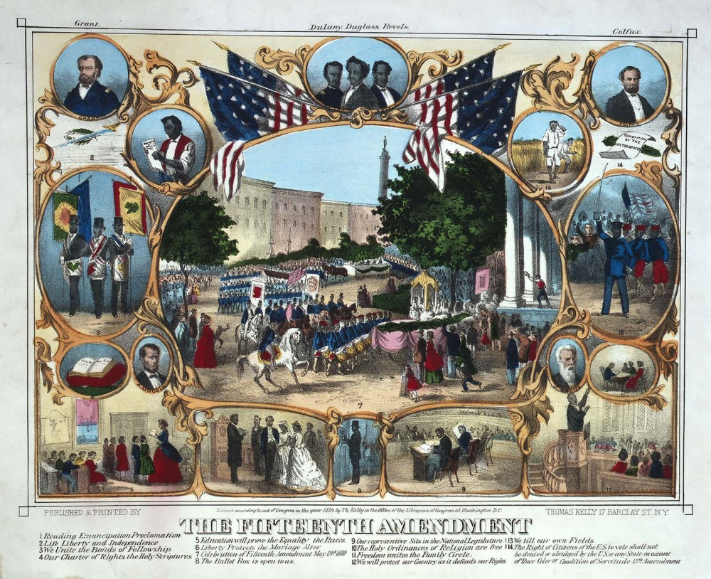 "The Fifteenth Amendment gave male citizens, regardless of race, color, or previous status (i.e. slavery), the right to vote. While the amendment was not all encompassing in that women were not included, it was an extremely significant ruling in establishing the liberties of African American men. This print depicts a huge parade held in Baltimore, Maryland, on May 19, 1870, surrounded by portraits of abolitionists and scenes of African Americans exercising their rights. Thomas Kelly after James C. Beard, ""The 15th Amendment. Celebrated May 19th 1870,"" 1870. Library of Congress, http://www.loc.gov/exhibits/treasures/trr060.html."