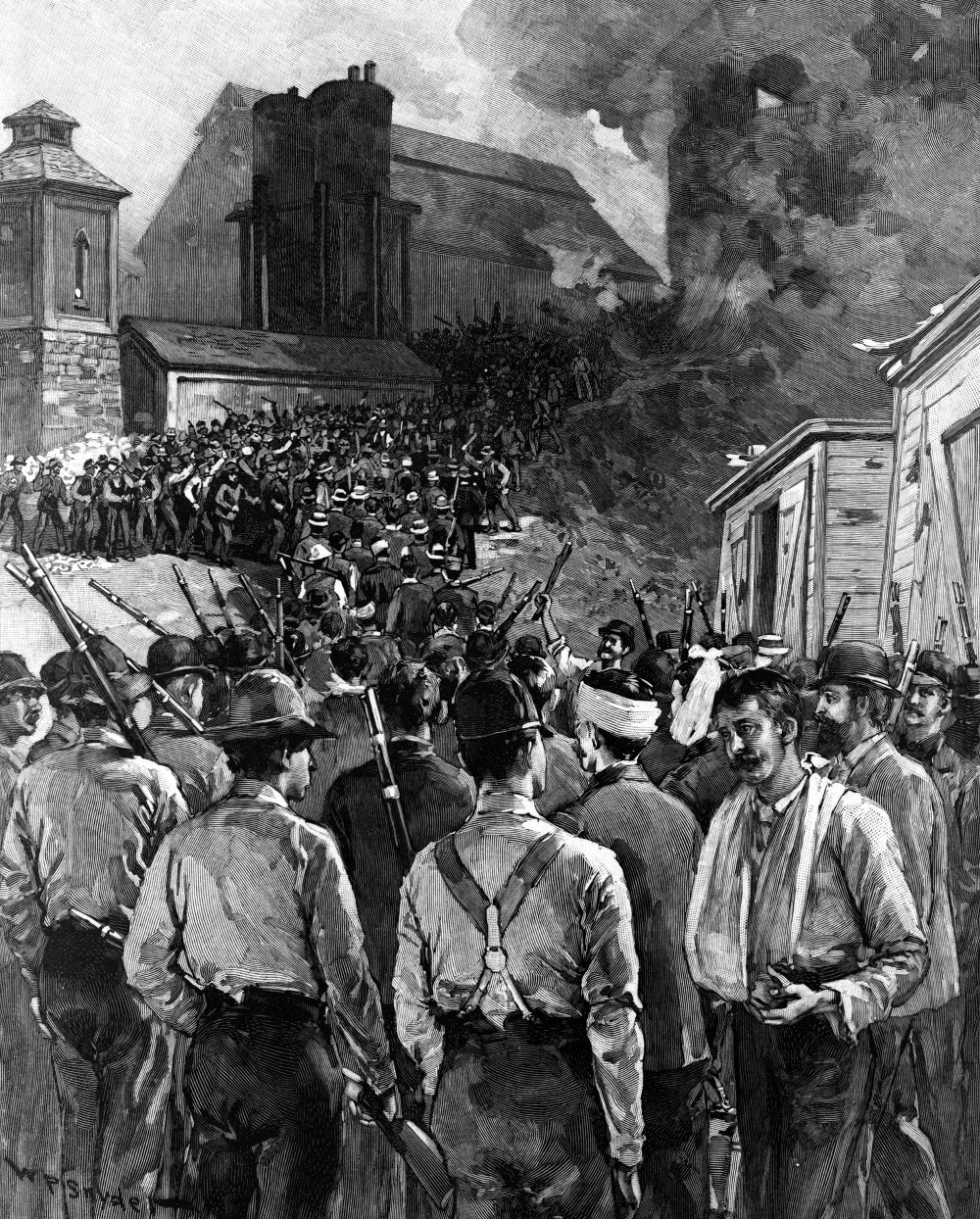 "An 1892 cover of Harper's Weekly depicting the Homestead Riot, showed Pinkerton men who had surrendered to the steel mill workers navigating a gauntlet of violent strikers. W.P. Synder (artist) after a photograph by Dabbs, ""The Homestead Riot,"" 1892. Library of Congress, LC-USZ62-126046."