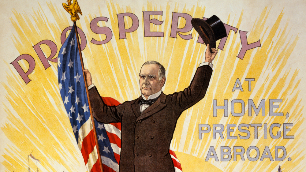 "Conservative William McKinley promised prosperity to ordinary Americans through his ""sound money"" initiative, a policy he ran on during his election campaigns in 1896 and again in 1900. This election poster touts McKinley's gold standard policy as bringing ""Prosperity at Home, Prestige Abroad."" ""Prosperity at home, prestige abroad,"" [between 1895 and 1900]. Library of Congress,."