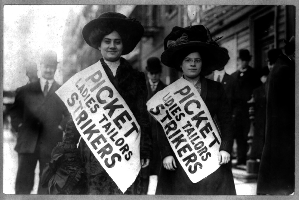"Two women strikers on picket line during the ""Uprising of the 20,000,"" garment workers strike, New York City, 1910. Library of Congress, LC-USZ62-49516 ."