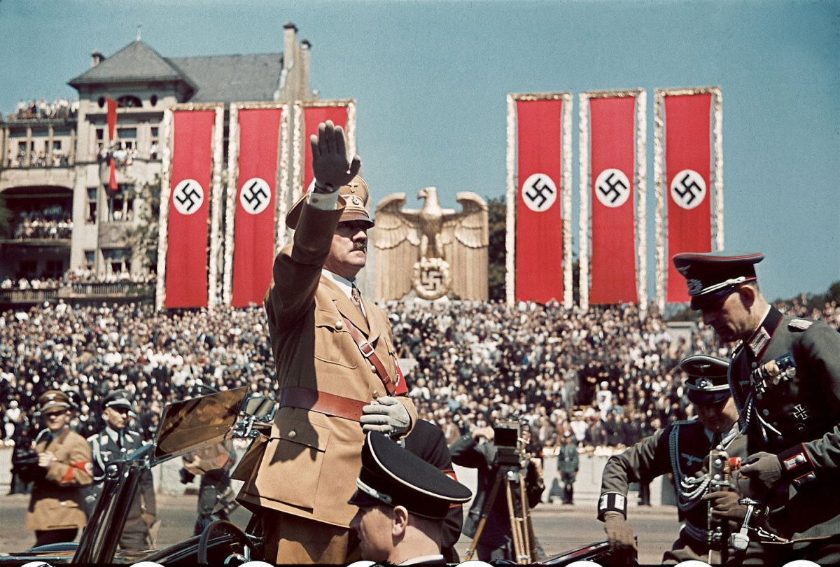 """Adolf Hitler salutes troops of the Condor Legion who fought alongside Spanish Nationalists in the Spanish Civil War, during a rally upon their return to Germany, 1939."" Hugo Jaeger—Time & Life Pictures/Getty Images. http://life.time.com/world-war-ii/nazi-propaganda-and-the-myth-of-aryan-invincibility/#ixzz2Wd38MUY9"