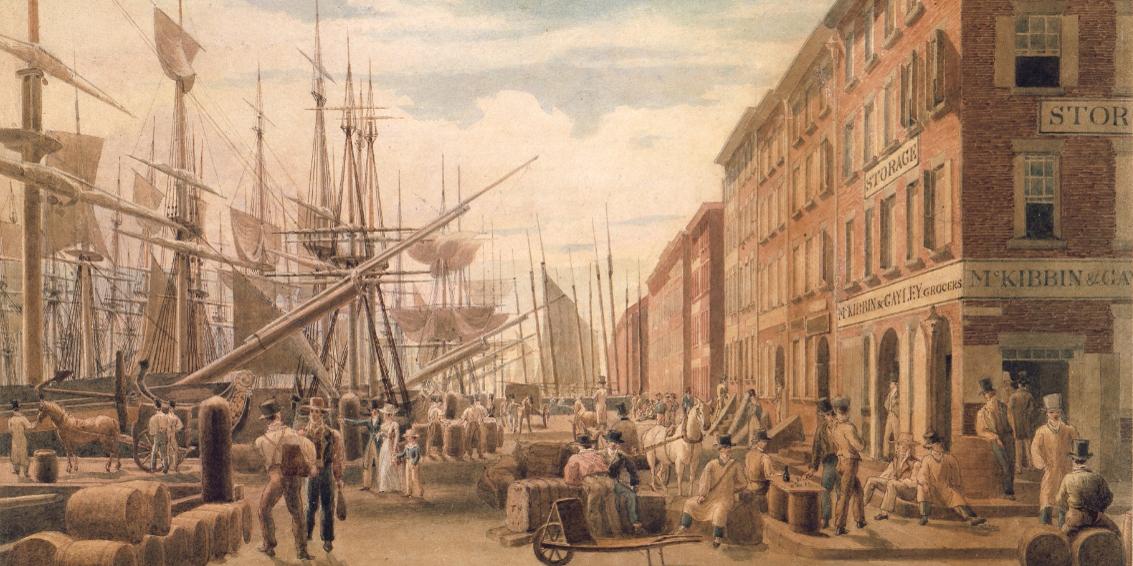 "William James Bennett, ""View of South Street, from Maiden Lane, New York City,"" ca. 1827, via Metropolitan Museum of New York"