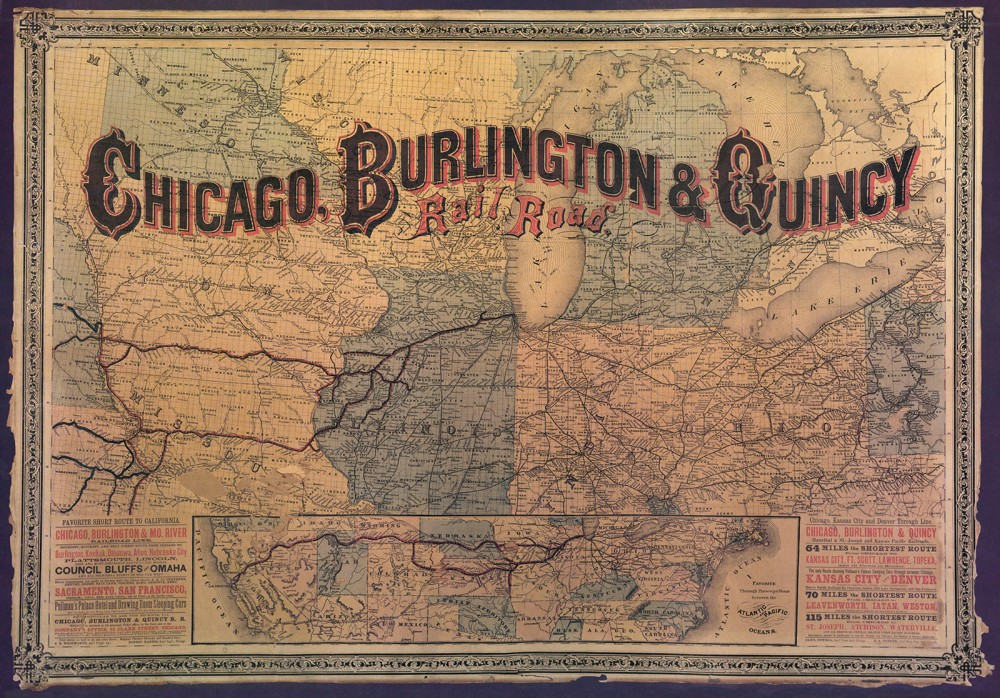 Railroads made the settlement and growth of the West possible. By the late nineteenth century, maps of the mid-West like this one were filled with advertisements of how quickly a traveler could get nearly anywhere in the country. Map. Environment and Society, http://www.environmentandsociety.org/sites/default/files/29-chicago-burlington--quincy-rail-road-circa-1880.jpg.