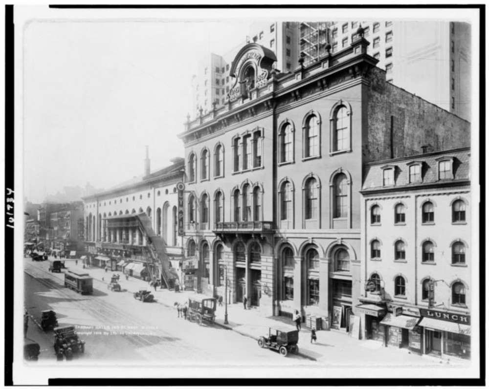 "Tammany Hall was at its political height in the late nineteenth and early twentieth centuries, around the time this photograph of the building at Tammany Hall and 14th St. West was taken. It practically controlled Democratic Party nominations and political patronage in New York City from the 1850s through the 1930s. Irving Underhill (photographer),"" c. 1914. Tammany Hall & 14th St. West,"" Library of Congress, http://www.loc.gov/pictures/item/90713159/."