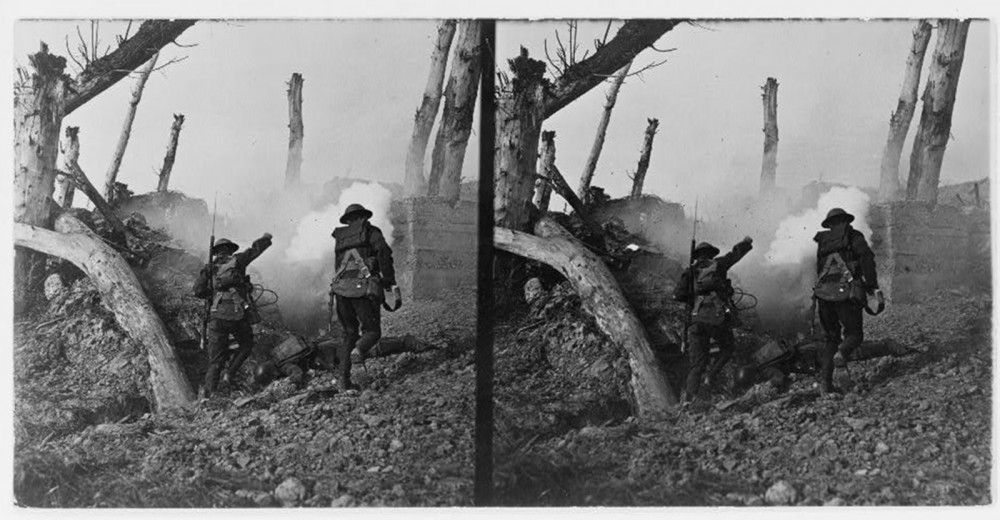 "Propagandistic images increased patriotism in a public relatively detached from events taking place overseas. This photograph, showing two United States soldiers sprinting past the bodies of two German soldiers toward a bunker, showed Americans the heroism evinced by their men in uniform. Likely a staged image taken after fighting ending, it nonetheless played on the public's patriotism, telling them to step up and support the troops. ""At close grips with the Hun, we bomb the corkshaffer's, etc.,"" c. 1922?. Library of Congress, http://www.loc.gov/pictures/item/91783839/."