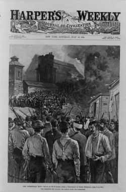 "A 1892 cover of Harper's Weekly depicted the result of the Homestead Riot, showing the Pinkerton men are seen leaving the barge in defeat after surrendering to the Carnegie steel mill workers. The Pinkerton men, who at the forefront appear calm and composed, are walked through a violent mob of mill workers as they depart from the scene.W.P. Synder (artist) after a photograph by Dabbs, ""The Homestead Riot,"" 1892. Library of Congress, http://www.loc.gov/pictures/item/00650151/."