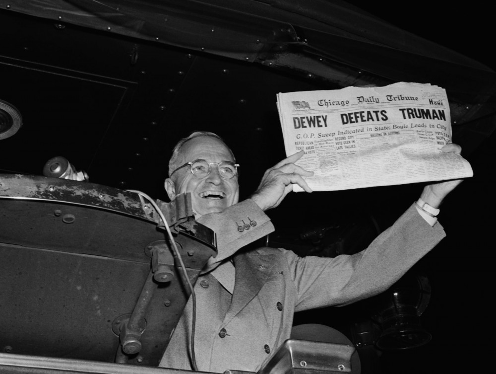 Just like the internet, don't always trust what you read in newspapers. This obviously incorrect banner from the front page of the Chicago Tribune on November 3, 1948 made its own headlines as the newspaper's most embarrassing gaff. Photograph, 1948. http://media-2.web.britannica.com/eb-media/14/65214-050-D86AAA4E.jpg.