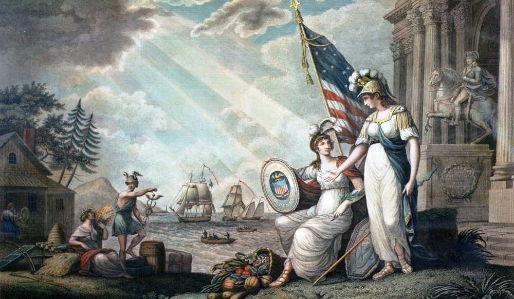 """America guided by wisdom An allegorical representation of the United States depicting their independence and prosperity,"" 1815, via Library of Congress."