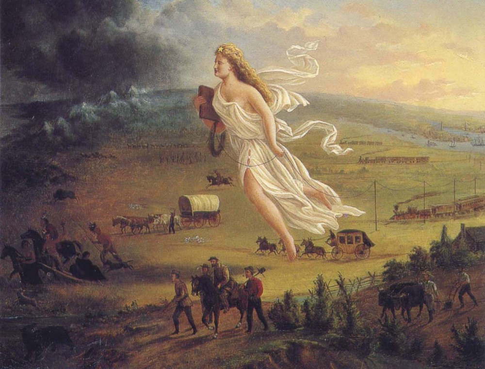"Although the original painting was only seen by a small number of Americans, the engraving was widely distributed, reinforcing and perhaps spreading the nationalistic ideals of the ""Manifest Destiny"" ideology. Columbia, the central female figure representing America, leads the Americans into the West and thus into the future by carrying the values of republicanism (as seen through her Roman garb) and progress (shown through the inclusion of technological innovations like the telegraph). In the process, Columbia clears the West of any possible hindrances to this progress, including the native peoples and animals pushed into the darkness. Engraving after John Gast, Manifest Destiny, 1872. Wikimedia, http://commons.wikimedia.org/wiki/File:American_progress.JPG."