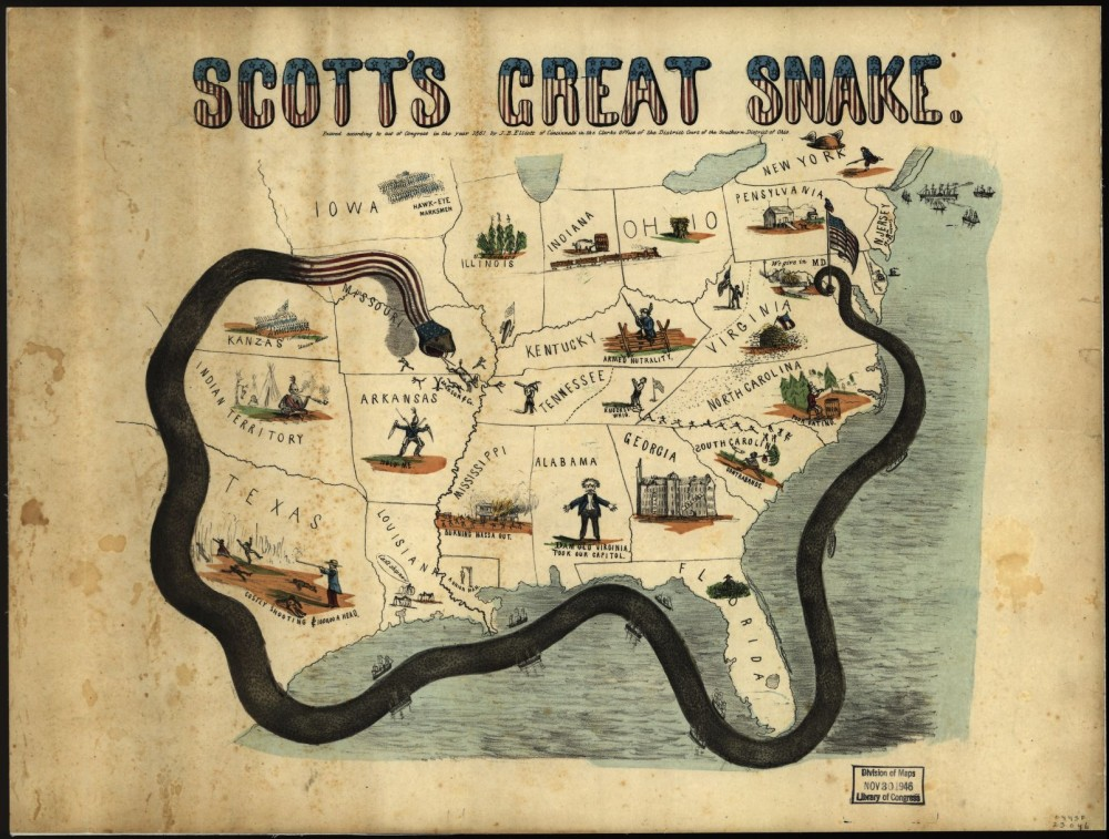 "Winfield Scott's Anaconda Plan meant to slowly squeeze the South dry of its resources, blocking all coastal ports and inland waterways to prevent the importation of goods or the export of cotton. This print, while poorly drawn, does a great job of making clear the Union's plan. J.B. Elliott, ""Scott's great snake. Entered according to Act of Congress in the year 1861,"" 1861. Library of Congress, http://www.loc.gov/item/99447020/."