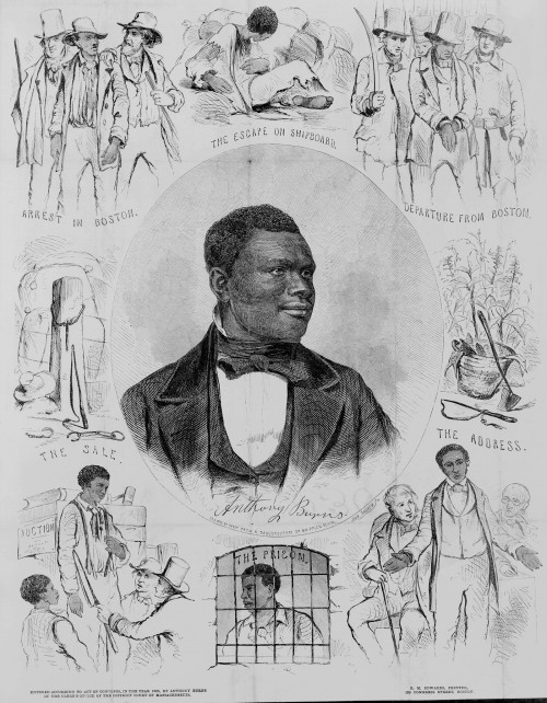 "Anthony Burns, the fugitive slave, appears in a portrait at the center of this 1855. Burns' arrest and trial, possible because of the 1850 Fugitive Slave Act, became a rallying cry. As a symbol of the injustice of the slave system, Burns' treatment  spurred riots and protests by abolitionists and citizens of Boston in the spring of 1854. John Andrews (engraver), ""Anthony Burns,"" c. 1855. Library of Congress, http://www.loc.gov/pictures/item/2003689280/."