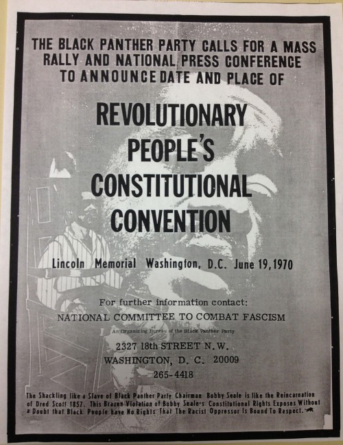 The Black Panther Party used radical and incendiary tactics to bring attention to the continued oppression of blacks in America. Read the bottom paragraph on this rally poster carefully. Wikimedia, http://upload.wikimedia.org/wikipedia/commons/e/e7/Black_Panther_DC_Rally_Revolutionary_People's_Constitutional_Convention_1970.jpg.