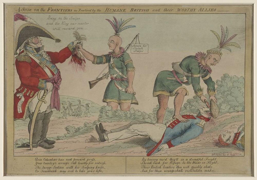 "As pictured in this 1812 political cartoon published in Philadelphia, Americans lambasted the British and their native allies for what they considered ""savage"" offenses during war, though Americans too were engaging in such heinous acts. William Charles, ""A scene on the frontiers as practiced by the ""humane"" British and their 'worthy' allies,"" Philadelphia: 1812. Library of Congress, http://www.loc.gov/pictures/item/2002708987/."