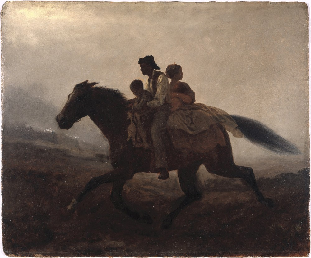 Eastman Johnson's A Ride for Liberty--The Fugitive Slaves portrays the fearless quest for freedom by a family of slaves, an arduous journey that so many slaves attempted. While it is impossible to know the number of enslaved men, women, and children who used their own feet to find liberty, historians concur that it was a common occurrence throughout American history. Eastman Johnson, A Ride for Liberty--The Fugitive Slaves, 1862. Wikimedia, http://commons.wikimedia.org/wiki/File:Eastman_Johnson_-_A_Ride_for_Liberty_--_The_Fugitive_Slaves_-_ejb_-_fig_74_-_pg_137.jpg.