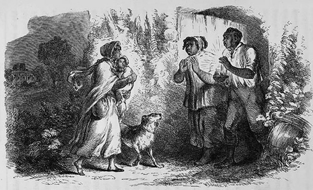Uncle Tom's Cabin intensified an already hot debate over slavery throughout the United States. The book revolves around Eliza (the woman holding the young boy) and Tom (standing with his wife Chloe), each of whom takes a very different path: Eliza escapes slavery using her own two feet, but Tom endures his chains only to die by the whip of a brutish master. The horrific violence that both endured melted the hearts of many northerners and pressed some to join in the fight against slavery. Full-page illustration by Hammatt Billings for Uncle Tom's Cabin, 1852. Wikimedia, http://commons.wikimedia.org/wiki/File:ElizaEngraving.jpg.