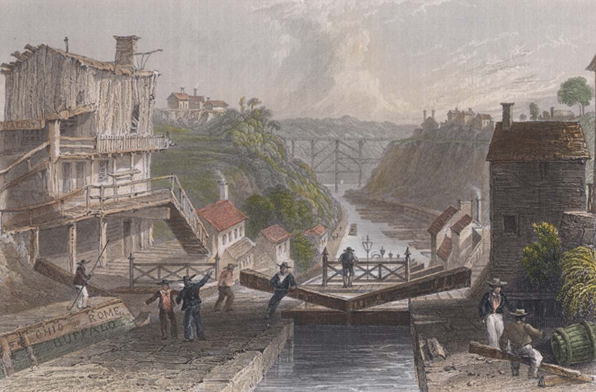 "Engraving based on W.H. Bartlett, ""Lockport, Erie Canal,"" 1839, http://commons.wikimedia.org/wiki/File:Lockport_bartlett_color_crop.jpg."