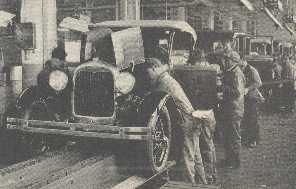 While a manufacturing innovation, Henry Ford's assembly line produced so many cars as to flood the automobile market in the 1920s. Interview with Henry Ford, Literary Digest, January 7, 1928. Wikimedia, http://commons.wikimedia.org/wiki/File:Ford_Motor_Company_assembly_line.jpg.