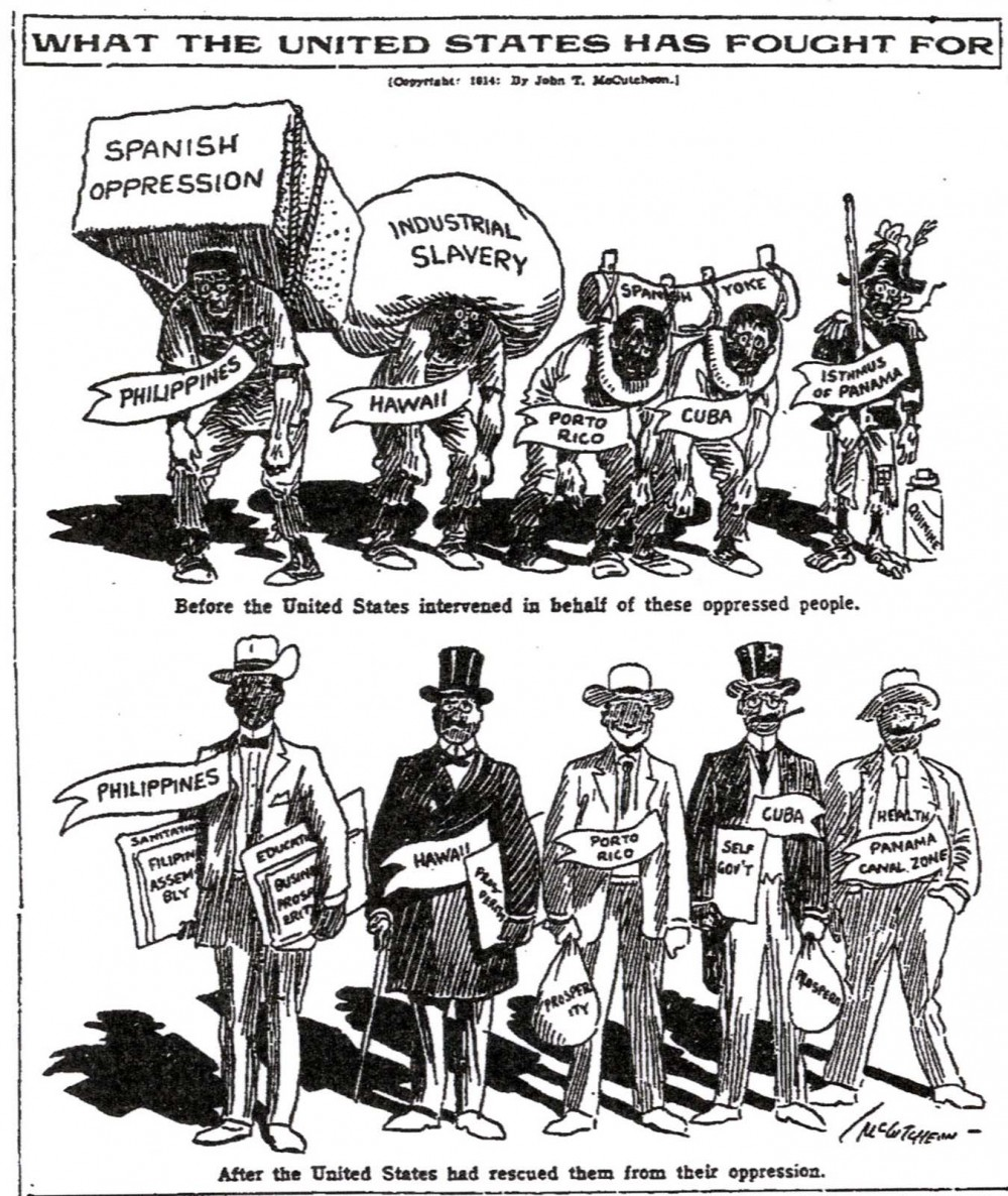 "A propagandistic image, this political cartoon shows a before and after: the Spanish colonies before intervention by America and those same former colonies after. The differences are obvious and exaggerated, with the top figures described as ""oppressed"" by the weight of industrial slavery until America ""rescued"" them, thereby turning them into the respectable and successful businessmen seen on the bottom half. Those who claimed that American imperialism brought civilization and prosperity to destitute peoples used visuals like these, as well as photographic and textual evidence, to support their beliefs. ""What the United States has Fought For,"" in Chicago Tribune, 1914. Wikimedia, http://commons.wikimedia.org/wiki/File:Free_from_Spanish.jpg."