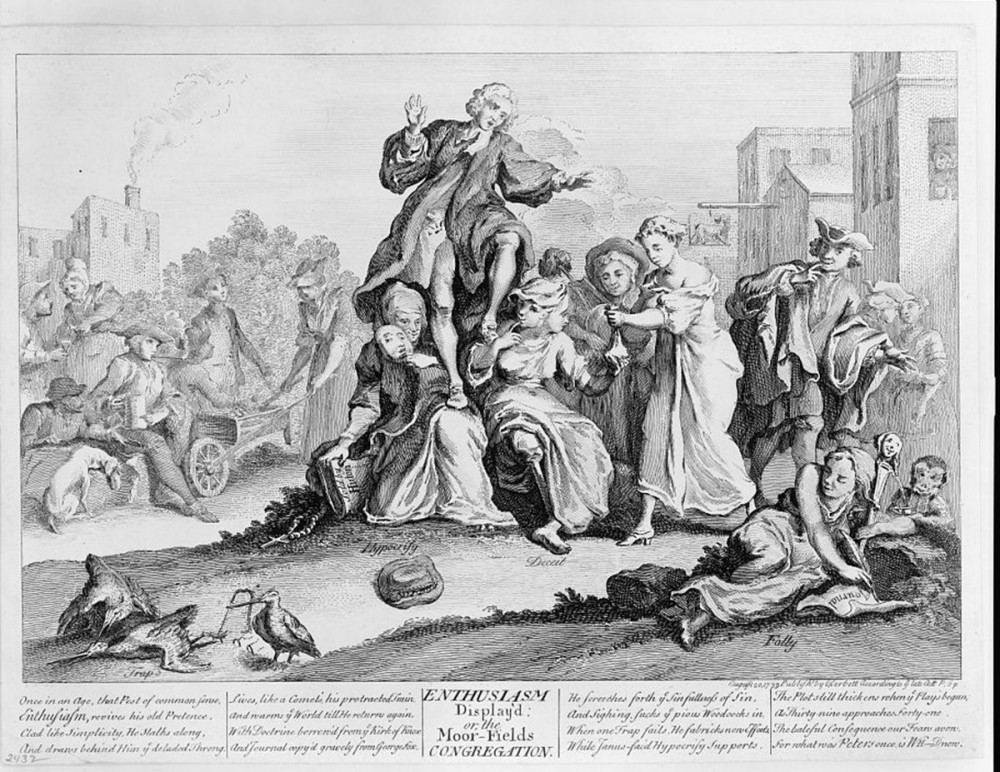 "C. Corbett, publisher, ""Enthusiasm display'd: or, the Moor Fields congregation,"" 1739. Library of Congress, http://www.loc.gov/pictures/item/2006680550/. Whitefield is shown supported by two women, ""Hypocrisy"" and ""Defeat"". The image also includes other visual indications of the engraver's disapproval of Whitefield, including a monkey and jester's staff in the right-hand corner."