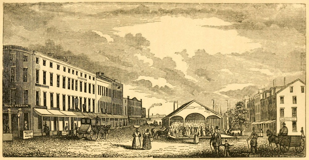 "In southern cities like Norfolk, VA, markets sold not only vegetables, fruits, meats, and sundries, but also slaves. Enslaved men and women, like the two walking in the direct center, lived and labored next to free people, black and white. S. Weeks, ""Market Square, Norfolk,"" from Henry Howe's Historical Collections of Virginia, 1845. Wikimedia, http://commons.wikimedia.org/wiki/File:Historical_Collections_of_Virginia_-_Market_Square,_Norfolk.jpg."