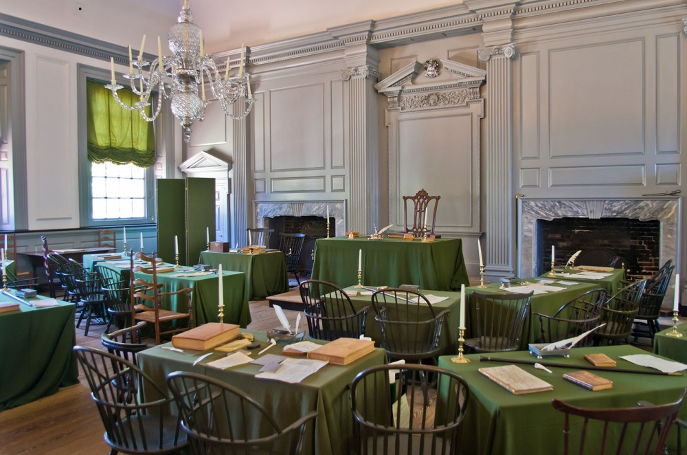 Delegates to the Constitutional Convention assembled, argued, and finally agreed in this room, styled in the same manner it was during the Convention. Photograph of the Assembly Room, Independence Hall, Philadelphia, PA. Wikimedia, http://commons.wikimedia.org/wiki/File:Independence_Hall_10.jpg.