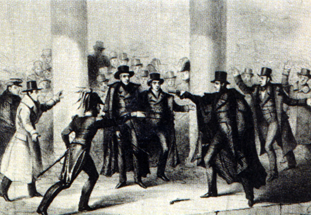 In 1835, Jackson became the first US President on whom an assassination attempt was carried out. While unsuccessful, it became another moment for Jackson to establish his persona as impulsive and passionate when, after the assassin's gun misfired twice, Jackson beat the man senseless with a cane. Wikimedia, http://commons.wikimedia.org/wiki/File:JacksonAssassinationAttempt.jpg.